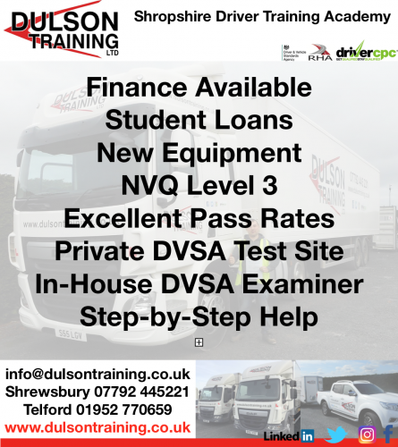 Why use Dulson? HGV Truck Training Shrewsbury Telford Shropshire